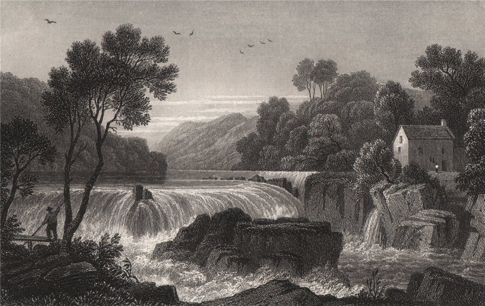 Associate Product Fall of the Teifi, Cardiganshire, Wales, by Henry Gastineau 1835 old print
