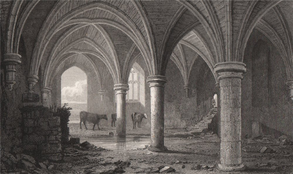 Associate Product The Crypt, Neath Abbey, Glamorganshire, Wales, by Henry Gastineau 1835 print