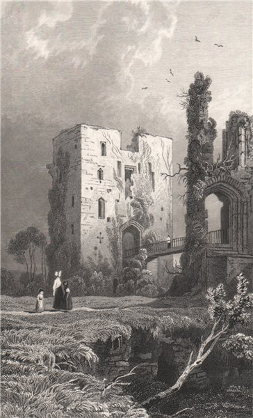 Associate Product The Keep of Raglan Castle, Monmouthshire, Wales, by Henry Gastineau 1835 print