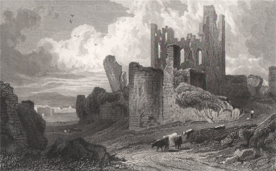Caerphilly Castle, Glamorganshire, Wales, by Henry Gastineau 1835 old print