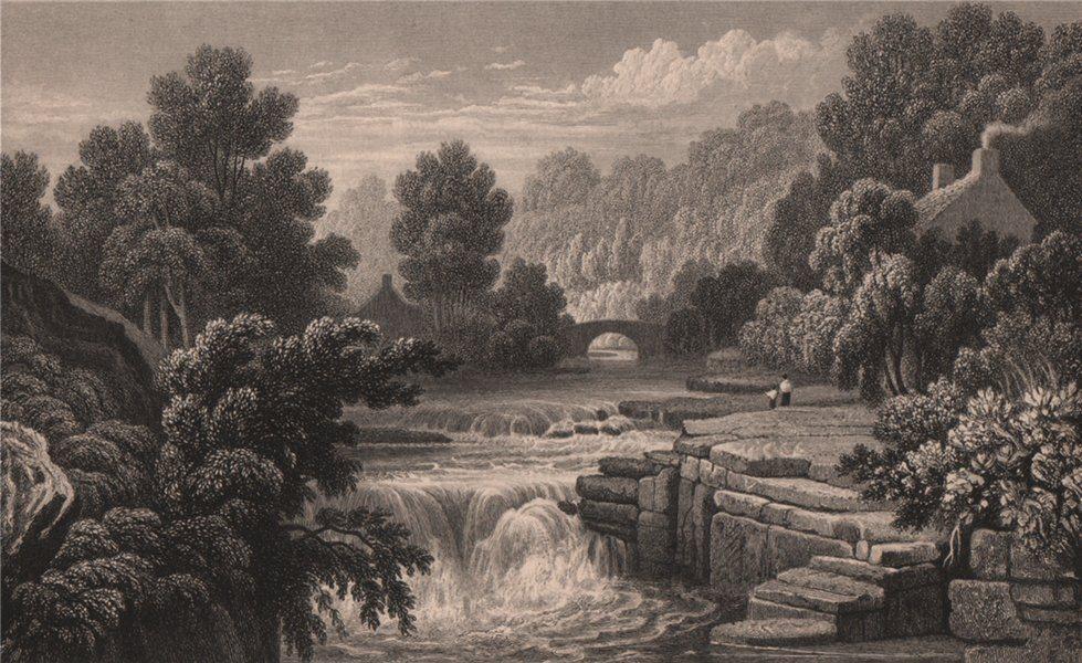Associate Product Berw-ddu falls, Rhondda, Glamorganshire, Wales, by Henry Gastineau 1835 print