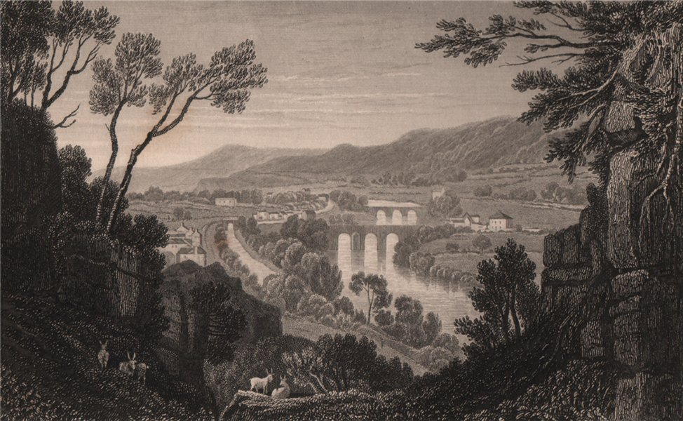 Associate Product Vale of the Taff, Glamorganshire, Wales, by Henry Gastineau 1835 old print