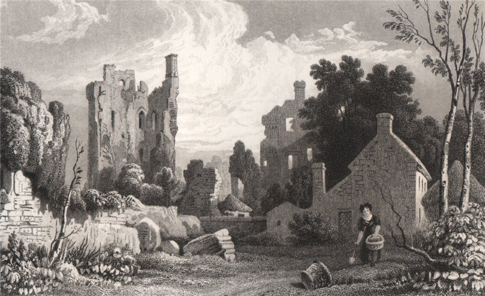 Associate Product Coity Castle, Glamorganshire, Wales, by Henry Gastineau 1835 old antique print
