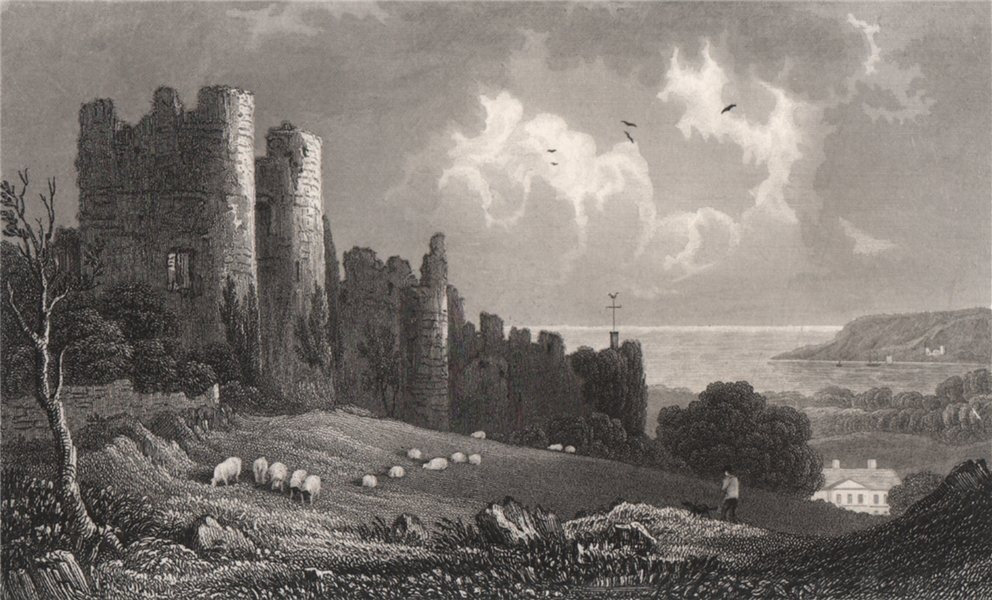 Associate Product Penrice Castle, Glamorganshire, Wales, by Henry Gastineau 1835 old print