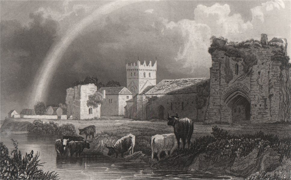 Associate Product Ewenny Priory, Glamorganshire, Wales, by Henry Gastineau 1835 old print