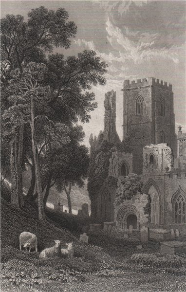 Associate Product Llandaff Cathedral, Glamorganshire, Wales, by Henry Gastineau 1835 old print