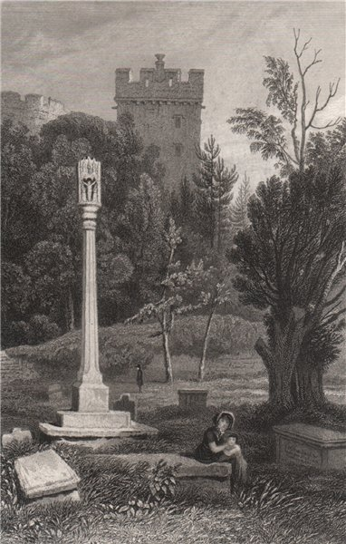 Ancient cross at St. Donat's, Glamorganshire, Wales, by Henry Gastineau 1835