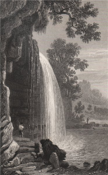Associate Product Upper fall of the Hepste, Brecknockshire, Wales, by Henry Gastineau 1835 print