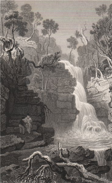 Associate Product Lower fall of the Hepste, Brecknockshire, Wales, by Henry Gastineau 1835 print