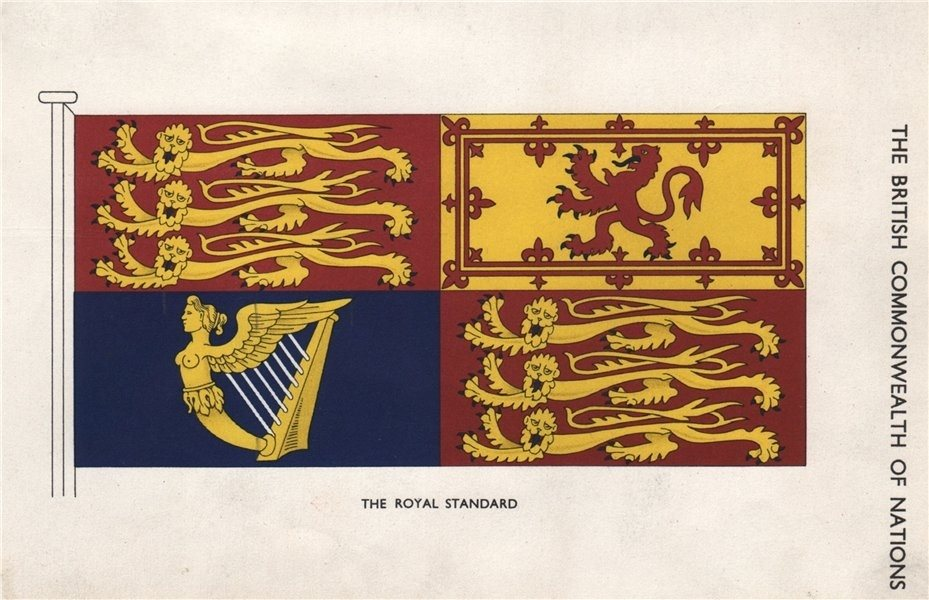 Associate Product BRITISH FLAGS. The Royal Standard 1958 old vintage print picture