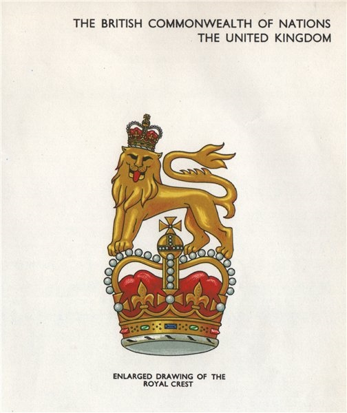 Associate Product UNITED KINGDOM FLAGS. the Royal Crest 1958 old vintage print picture
