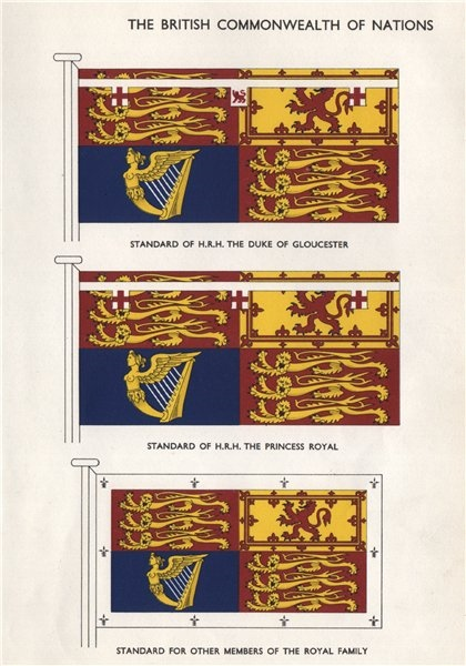 ROYAL STANDARDS. HRH The Duke of Gloucester. HRH The Princess Royal 1958 print