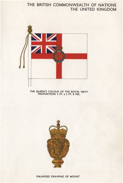 Associate Product UNITED KINGDOM FLAGS. The Queen's Colour of the Royal Navy. Mount 1958 print
