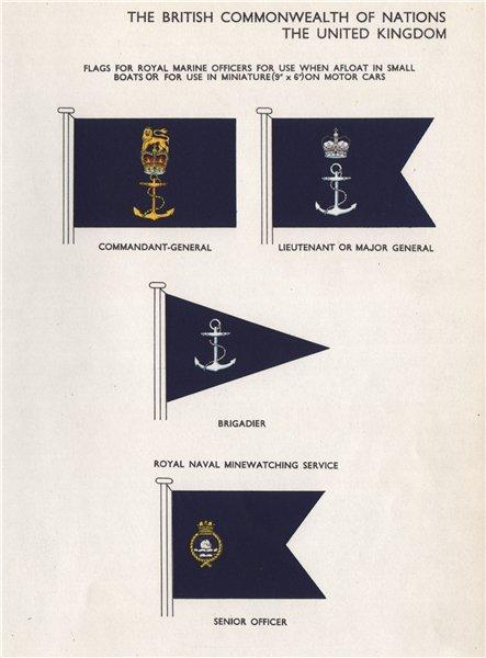 Associate Product BRITISH ROYAL MARINE FLAGS. Commandant-General. Lt. Brigadier. Minewatching 1958
