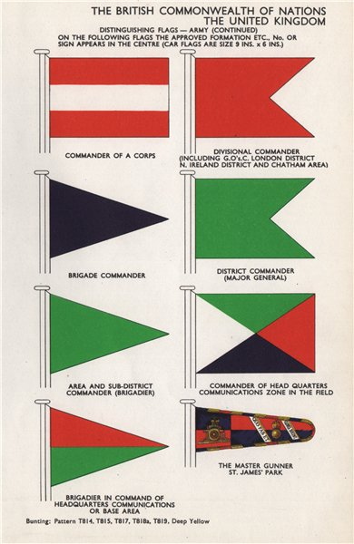 Associate Product BRITISH ARMY FLAGS. Commanders. Master Gunner St. James's Park 1958 old print