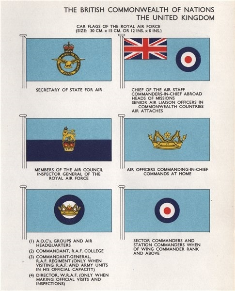 Associate Product ROYAL AIR FORCE CAR FLAGS. Secretary of State for Air. Chief of Air Staff 1958