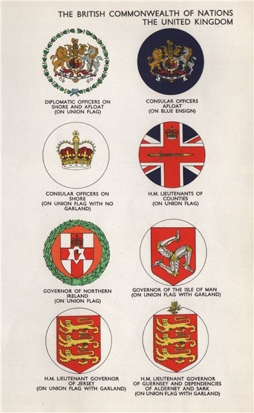 Associate Product UK FLAGS. Diplomatic/Consular Officers HM Lieutenants of Counties Governors 1958