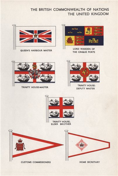 Associate Product UK FLAGS. Queen's Harbour Master Cinque Ports Trinity House Home Secretary 1958