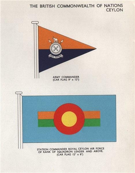 Associate Product CEYLON FLAGS. Army Commander. Station Commander Royal Ceylon Air Force 1958
