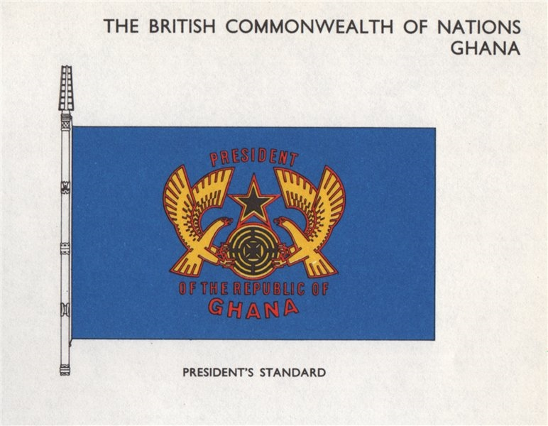 Associate Product GHANA FLAGS. President's Standard 1958 old vintage print picture