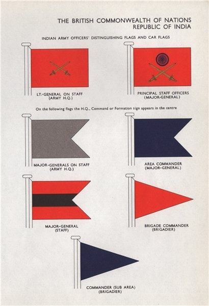 Associate Product INDIA ARMY FLAGS. Lt-General. Staff Officers. Area Commander. Major-General 1958