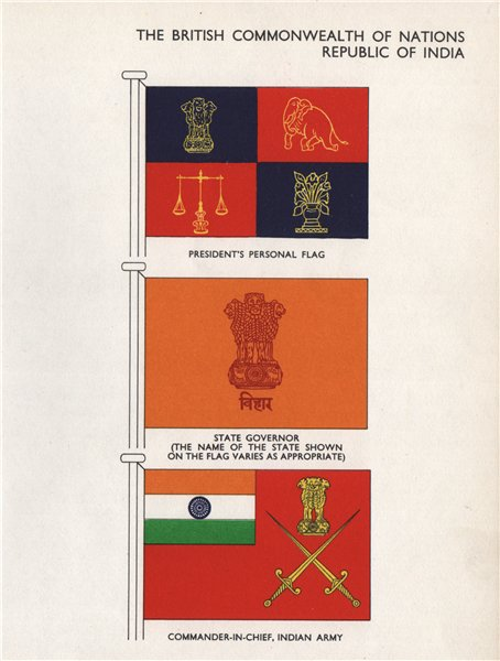 Associate Product INDIA FLAGS. President. State Governor. Commander-In-Chief, Indian Army 1958