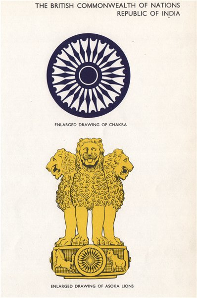 Associate Product INDIA FLAGS. Chakra. Asoka Lions 1958 old vintage print picture