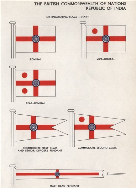 Associate Product INDIA NAVY FLAGS. Vice/Rear-Admiral. Commodore. Mast Head Pendant 1958 print