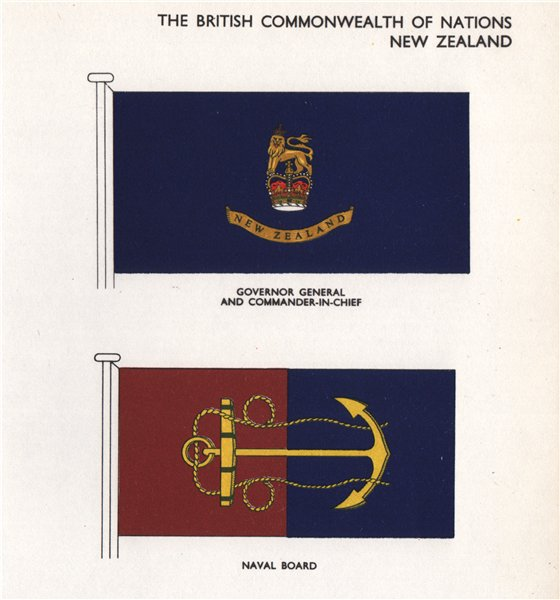 NEW ZEALAND FLAGS. Governor General & Commander-In-Chief. Naval Board 1958