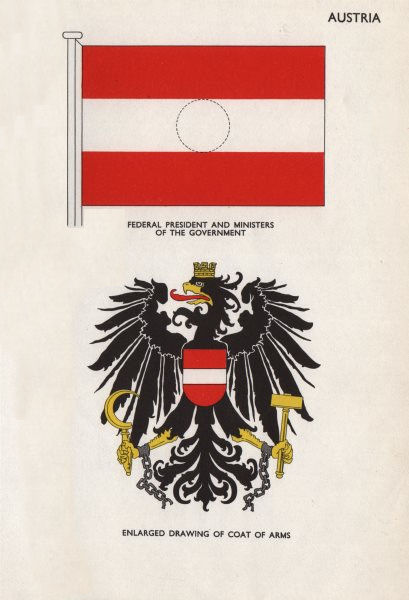 AUSTRIA FLAGS. Federal President. Ministers of the Government. Coat of Arms 1958