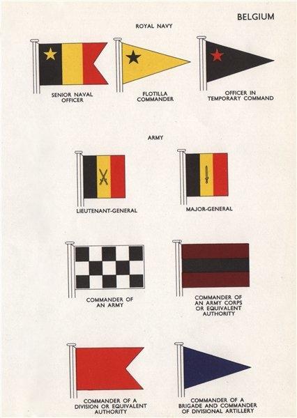BELGIUM FLAGS Senior Naval officer Flotilla Commander Army Major-General 1958