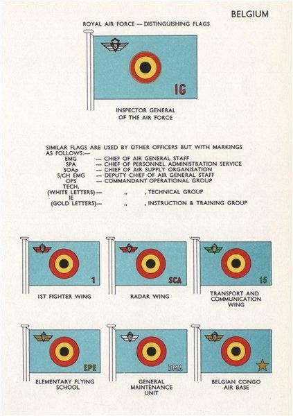 Associate Product BELGIUM AIR FORCE FLAGS. Inspector General. 1st Fighter/Radar Wing. Congo 1958