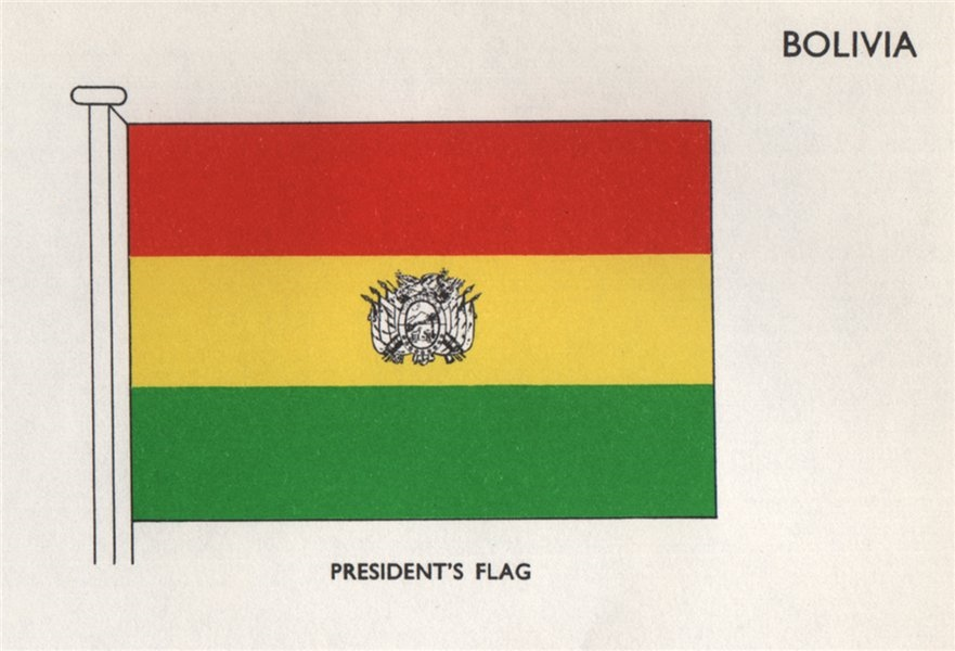 Associate Product BOLIVIA FLAGS. President's Flag 1958 old vintage print picture