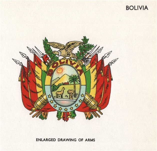 BOLIVIA FLAGS. Arms 1958 old vintage print picture