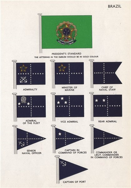 Associate Product BRAZIL FLAGS. Presindent's Standard. Admiralty. Minister of Marine. Admiral 1958