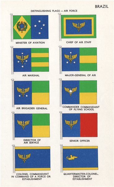 Associate Product BRAZIL AIR FORCE FLAGS Minister of Aviation Chief of Air Staff Air Marshal 1958