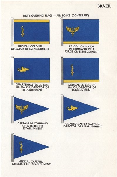 BRAZIL AIR FORCE FLAGS. Medical Colonel Lt. Colonel Quartermaster Captain 1958