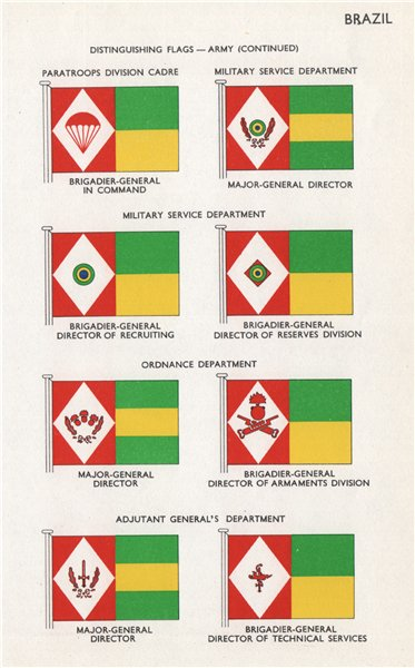 Associate Product BRAZIL ARMY FLAGS. Paratroops Military Service Ordnance Adjutanta general 1958