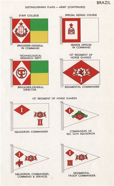 Associate Product BRAZIL ARMY FLAGS. Staff College. Riding Course. 1st Horse Guards Regiment 1958