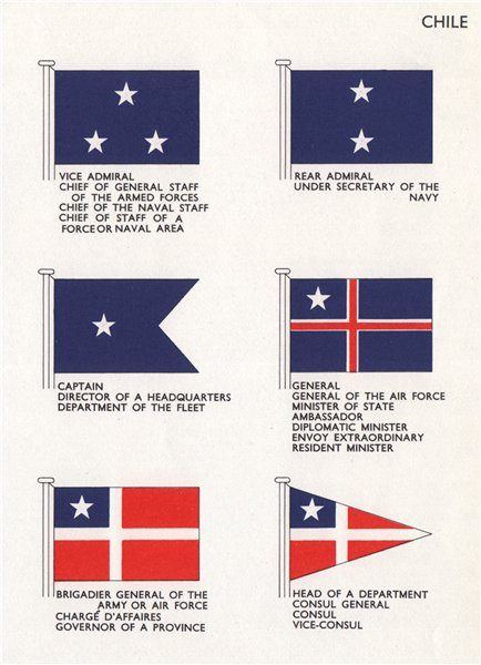 Associate Product CHILE FLAGS. Vice/Rear Admiral Brigadier General Consul Governor Minister 1958