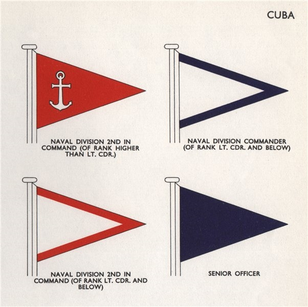CUBA FLAGS. Naval division 2nd in Command/Commander. Senior Officer 1958 print