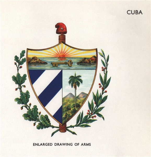Associate Product CUBA FLAGS. Arms 1958 old vintage print picture