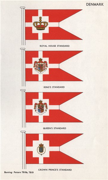 DENMARK FLAGS. Royal House, King's, Queen's & Crown Prince's Standards 1958