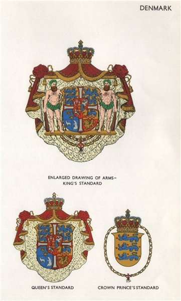 Associate Product DENMARK FLAGS. Arms. King's, Queen's & Crown Prince's StandardS 1958 old print