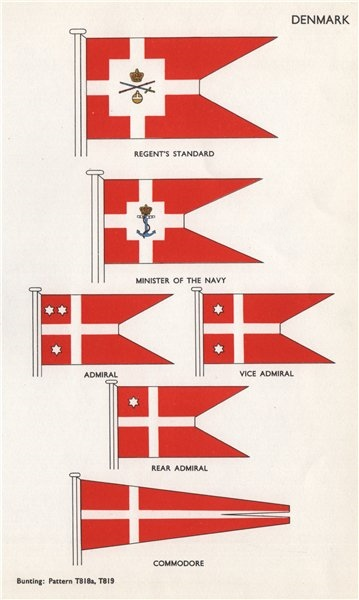 Associate Product DENMARK FLAGS. Regent's Standard. Minister of Navy. Admiral. Commodore 1958