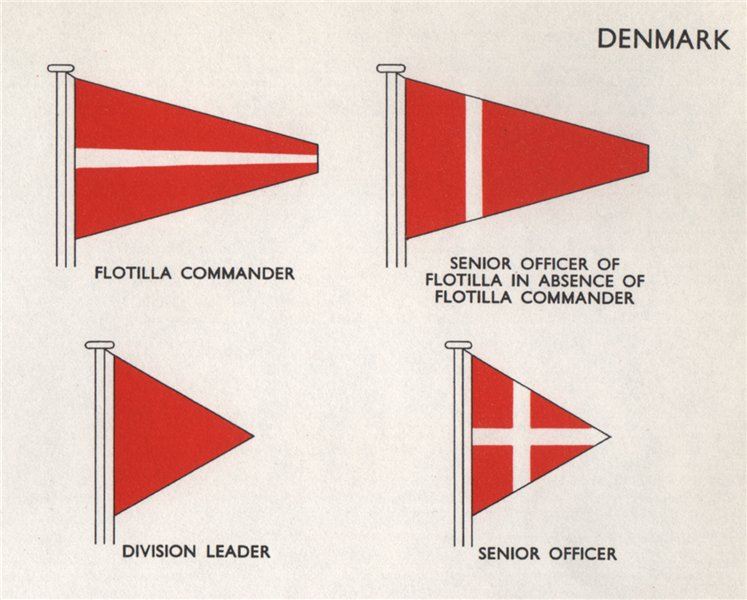 Associate Product DENMARK FLAGS. Flotilla Commander. Senior officer. Division leader 1958 print
