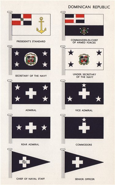 Associate Product DOMINICAN REPUBLIC FLAGS President's Standard C-in-C Navy Secretary Admiral 1958