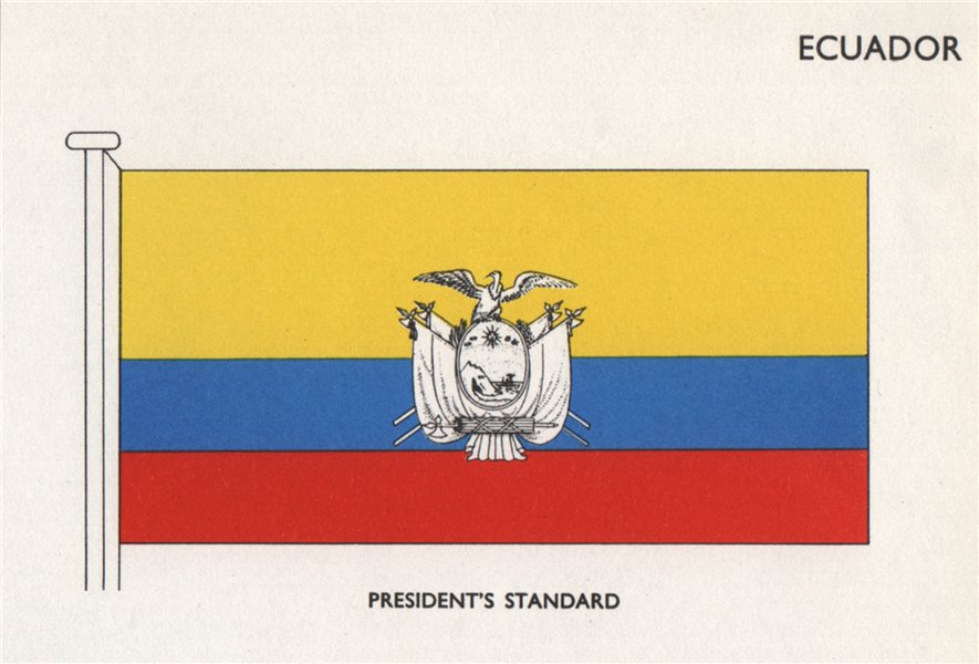 ECUADOR FLAGS. President's Standard 1958 old vintage print picture
