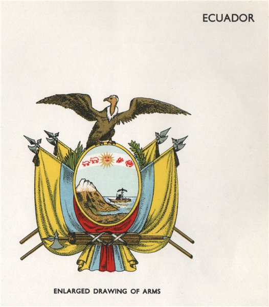 Associate Product ECUADOR FLAGS. Arms 1958 old vintage print picture