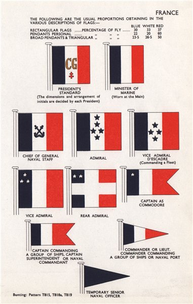 FRANCE FLAGS President's Standard Minister of Marine Chief of Staff Admiral 1958
